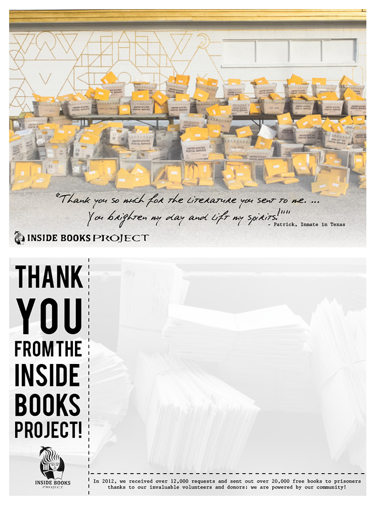Inside Books Project Thank You Postcard, Summer 2014