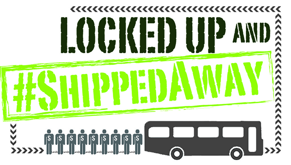 Logo for Locked Up & Shipped Away campaign, November 2013